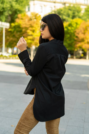 Carolina Black - Black long collar shirt