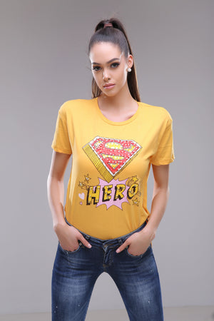 Hero t-shirt in white and yellow colors