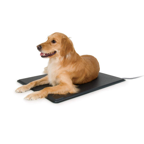 K&H Pet Products Lectro-Kennel Outdoor Heated Pad with Free Cover Black Large 22.5 X 28.5 X 0.5 Inches