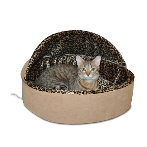 K&H PET PRODUCTS Thermo-Kitty Heated Pet Bed, Deluxe Tan/Leopard, 4W, Small