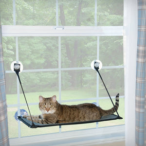 EZ Mount Window Kitty Sill Gray-Pet Window Sleeper-K&H Pet Products