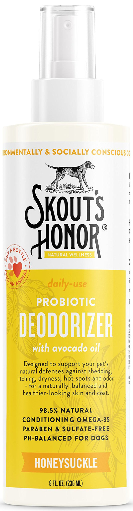 SKOUT'S HONOR: Probiotic Deodorizer - 8 fl. oz. - Hydrates and Deodorizes Fur, Supports Pet's Natural Defenses, PH-Balanced and Sulfate Free - Avocado Oil