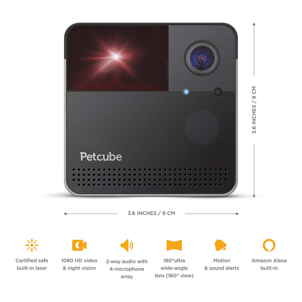 [New 2019] Petcube Play 2 Wi-Fi Pet Camera with Laser Toy & Alexa Built-In, for Cats & Dogs. 1080P HD Video, 160° Full-Room View, 2-Way Audio, Sound/Motion Alerts, Night Vision, Pet Monitoring App