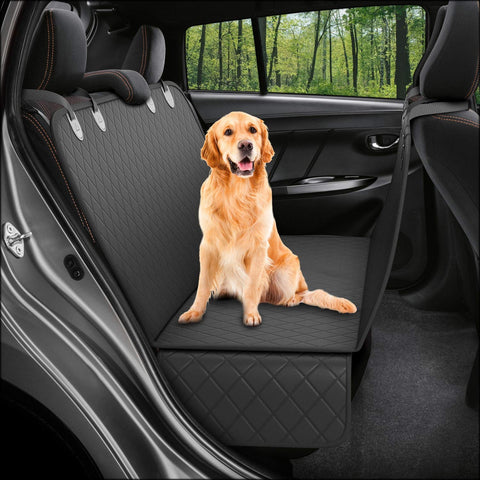 Dog Back Seat Cover Protector Waterproof Scratchproof Nonslip Hammock for Dogs Backseat Protection Against Dirt and Pet Fur Durable Pets Seat Covers for Cars & SUVs (Black)