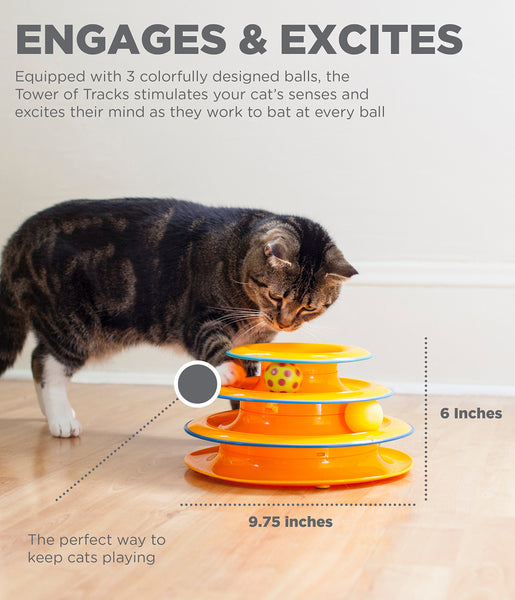 Petstages Tower of Tracks Cat Toy - 3 Levels of Interactive Play - Circle Track with Moving Balls Satisfies Kitty's Hunting, Chasing & Exercising Needs