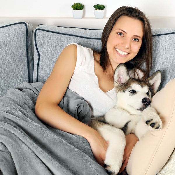 "Waterproof Pet Blanket-50""x 60"" Soft Plush Throw Protects Couch, Chairs, Car, Bed from Spills, Stains, or Pet Fur-Machine Washable by Petmaker (Gray)"