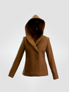 Short Alpaca Hooded Jacket - Morado