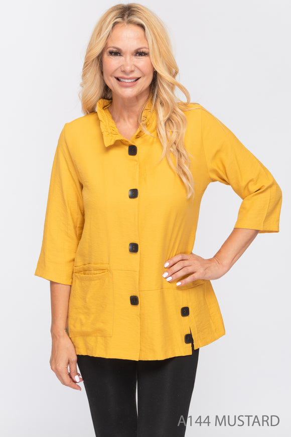 NEW - Mustard Button Down Top/Jacket