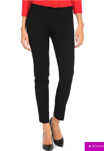 LONG/Narrow with POCKETS Women's Wide Band Pull-On Straight Leg Pant With Tummy Control (M2684P)-BLACK