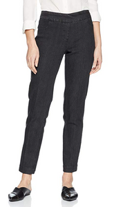 ANKLE Women's Wide Band Pull On Pant with Tummy Control (M2623P)-BLACK DENIM