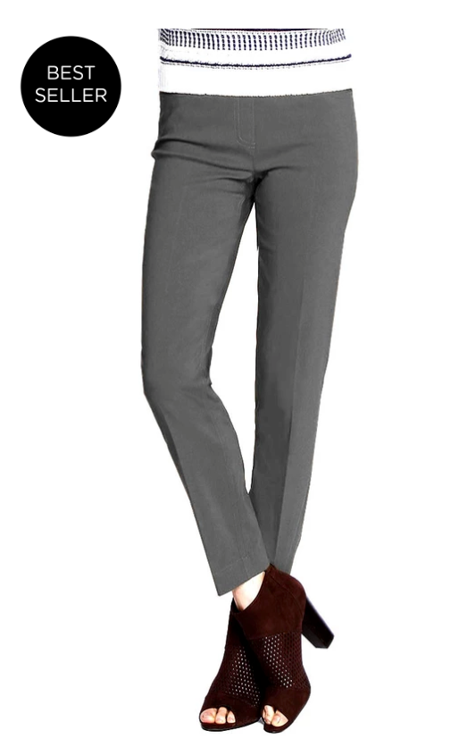 ANKLE Women's Wide Band Pull On Pant with Tummy Control (M2623P)-CHARCOAL