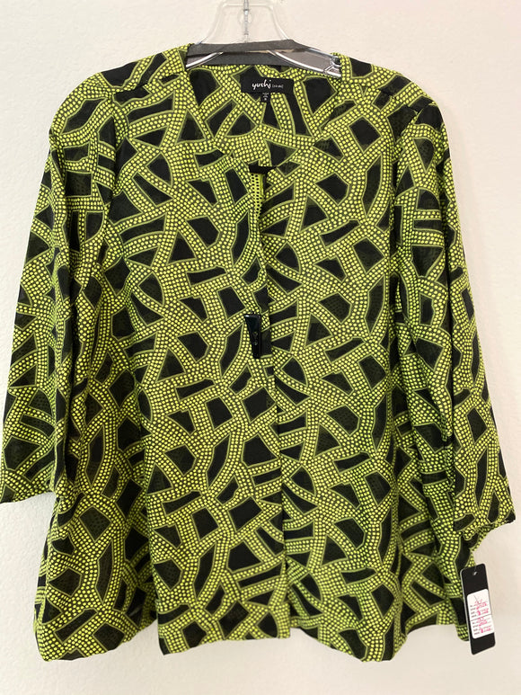 Yushi Lime Green & Black One Button Jacket