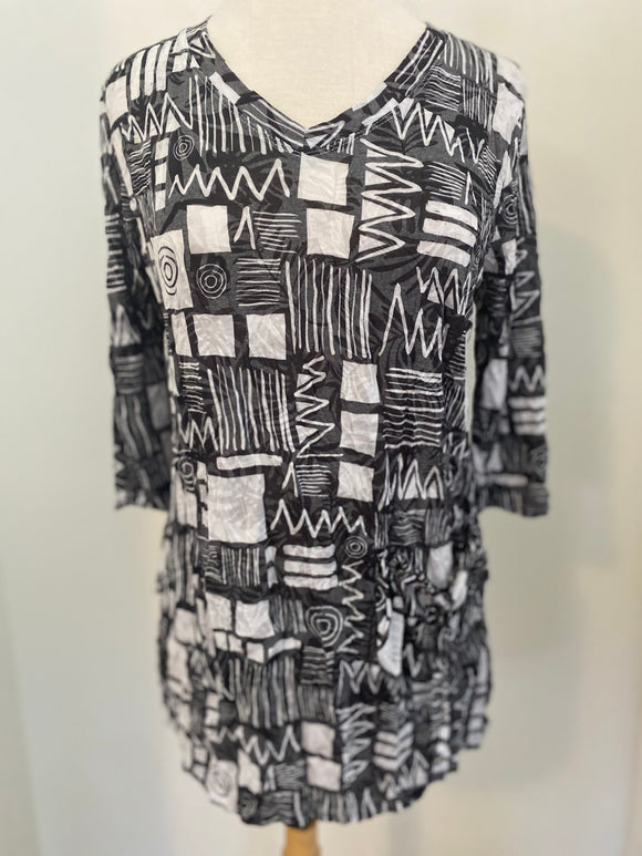 Shana Black & White Mixed Print Top