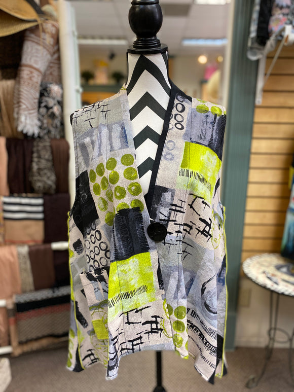 Moonlight Multi Pattern Vest in LIME - 3052