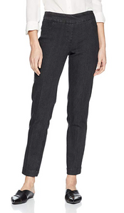 LONG/Narrow Women's Wide Band Pull-On Straight Leg Pant With Tummy Control (M2604P)-BLACK DENIM
