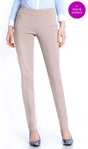 LONG/Narrow Women's Wide Band Pull-On Straight Leg Pant With Tummy Control (M2604P)-STONE