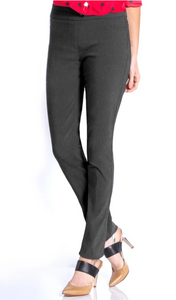 LONG/Narrow Women's Wide Band Pull-On Straight Leg Pant With Tummy Control (M2604P)-CHARCOAL