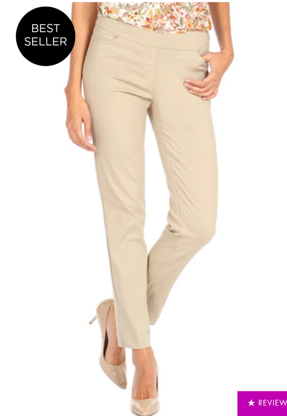 LONG/Narrow with POCKETS Women's Wide Band Pull-On Straight Leg Pant With Tummy Control (M2684P)-STONE