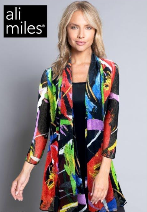 Ali Miles 3/4 Sleeve Printed Multi Color Open Front Jacket