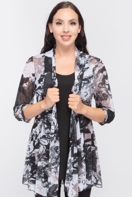 Creations Abstract Printed Long Cardigan