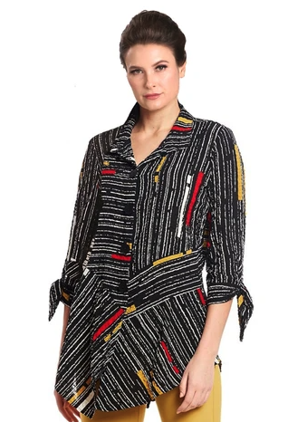 NEW - IC Collection Striped Button Front Shirt in Multi - 1571B-BLK