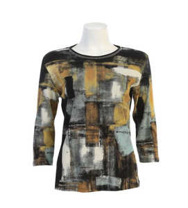 "Jess & Jane ""Misty"" Abstract Top in Black - 14-1524"