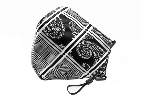 Berek Paisley Plaid Graphic Mask Black/White M187937