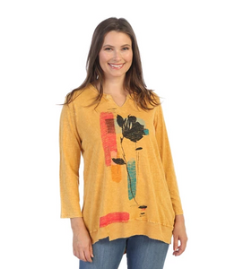 "Jess & Jane ""Emotion"" Cotton Jersey V-Neck Tunic Top - M26-1529"