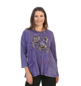 "Jess & Jane ""Violets"" Abstract Mineral Washed Tunic Top - M12-1538"