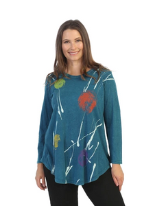 "Jess & Jane ""Orbs"" Abstract Print Mineral Washed Tunic Top - M28-1532"