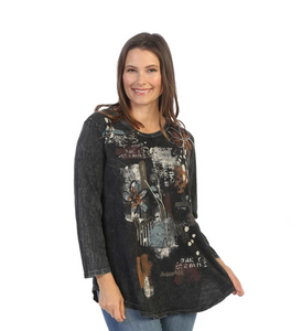 "Jess & Jane ""Travelogue"" Mineral Washed Top - M28-1530"