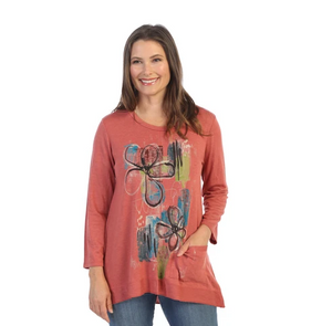 "Jess & Jane ""Santa Monica"" Abstract Soft Knit High-Low Tunic Top - BT1-1531"