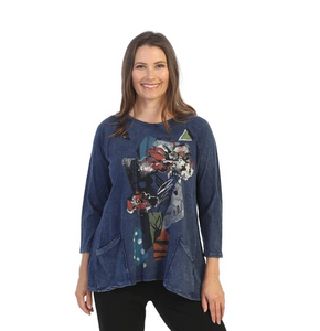 "Jess & Jane ""Melissa"" Abstract Mineral Washed Tunic Top - M12-1537"