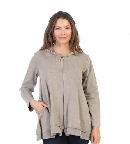 Jess & Jane Mineral Washed French Terry Hoodie Jacket - M44-TAUPE