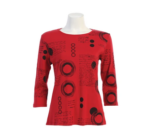 "Jess & Jane ""Memories"" Top in Red - 14-1504RD"
