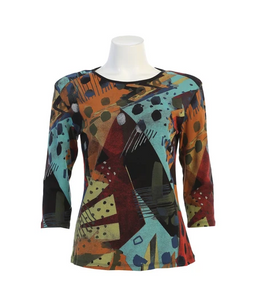 "Jess & Jane ""Pop Art"" Top in Black - 14-1512BLK"