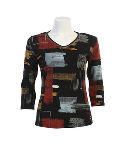 "Jess & Jane ""Tuscany"" Abstract Print Top in Black - 15-1503BLK"