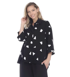 Moonlight Diamond Print Button Front Blouse in Black & White - 2565-BW