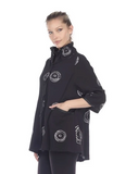 NEW - Moonlight Circle Print Shirt/Jacket in Black/White - 2979-BLK