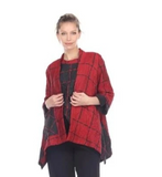NEW - Moonlight Check Print Open Front High-Low Jacket - 3124-RD