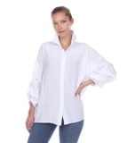 NEW - Moonlight Sheer Ruched-Sleeve Blouse in White - 2403