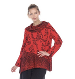 NEW - Moonlight Mixed Media Cowl-Neck Tunic in Red/Black - 2099