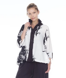 NEW - Moonlight Abstract Print Button Front Hi-Low Shirt in Black/White - 3062-WHT