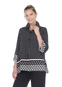 NEW - Moonlight Polka Dot Button Front Shirt in Black/White - 3101-CL