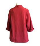 NEW - Moonlight by Y&S Solid V-Neck Asymmetric Jacket in Red - 7099-RED