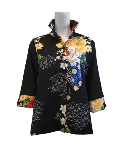 NEW - Moonlight by Y&S Floral Print Button Front Blouse in Black/Multi - 3080-BLK
