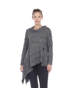 Moonlight Soft Textured Asymmetric Sweater in Grey - 2944