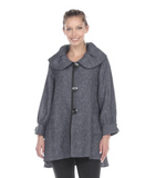 Moonlight Chevron Jacquard Button Front Jacket in Grey - 3156-GRY