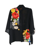 Moonlight by Y&S Floral Colorblock Jacket in Multi/Black - 3098-BLK