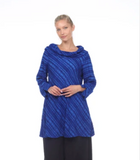Moonlight Blue Textured Cowl Neck Tunic - 9017